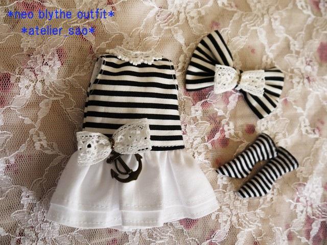 ◆ネオブライス服◆白黒ボーダー☆マリンワンピ◇3