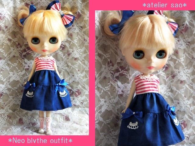 ◆ネオブライス服◆ピンクボーダー×ブルー 夏ワンピset◇1