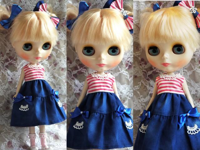◆ネオブライス服◆ピンクボーダー×ブルー 夏ワンピset◇2