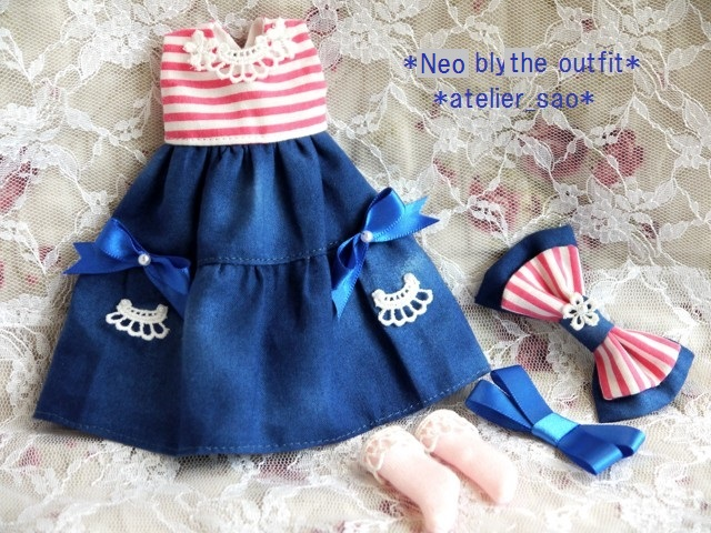 ◆ネオブライス服◆ピンクボーダー×ブルー 夏ワンピset◇3