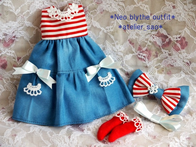 ◆ネオブライス服◆赤ボーダー×ブルー 夏ワンピset◇3
