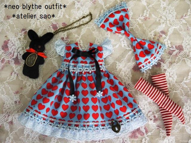 ◆ネオブライス服◆黒うさぎとハートのアリス風ワンピ◇3