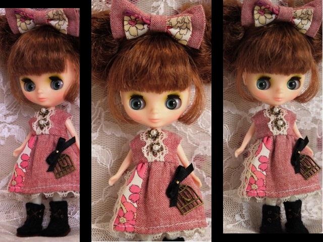 ◆プチブライス服・靴◆ナチュラルレッド×ピンク2