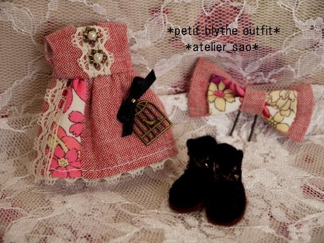 ◆プチブライス服・靴◆ナチュラルレッド×ピンク3