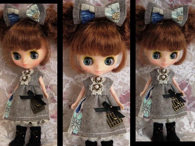 ◆プチブライス服・靴◆ナチュラルグレー×ブルーset◇2