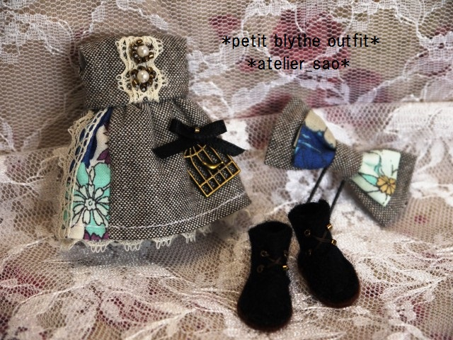 ◆プチブライス服・靴◆ナチュラルグレー×ブルーset◇3