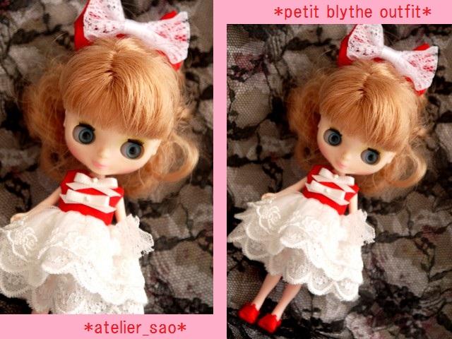◆プチブライス服◆赤と白のドレス◇1