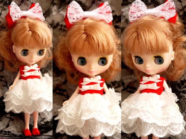 ◆プチブライス服◆赤と白のドレス◇2