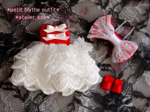 ◆プチブライス服◆赤と白のドレス◇3