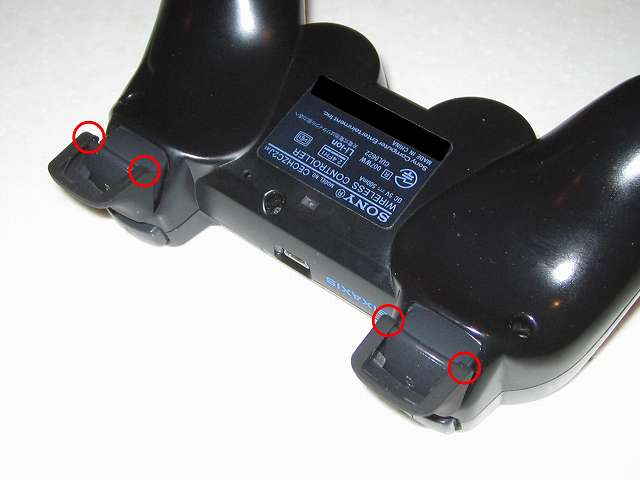 DS3 Dualshock3 デュアルショック3 Wireless Controller Black CECHZC2J A1 アタッチメント用 アンサー PS3用 プレイアップボタンセット ブラック 表面ラバー加工 L2・R2 ボタンアタッチメント固定箇所(画像赤丸)がコントローラー本体に接触