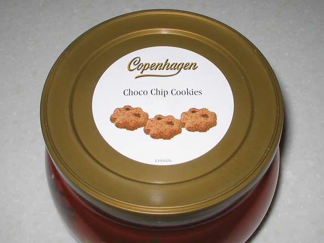 コペンハーゲン チョコチップクッキー 250g パッケージ缶のプラスチック蓋