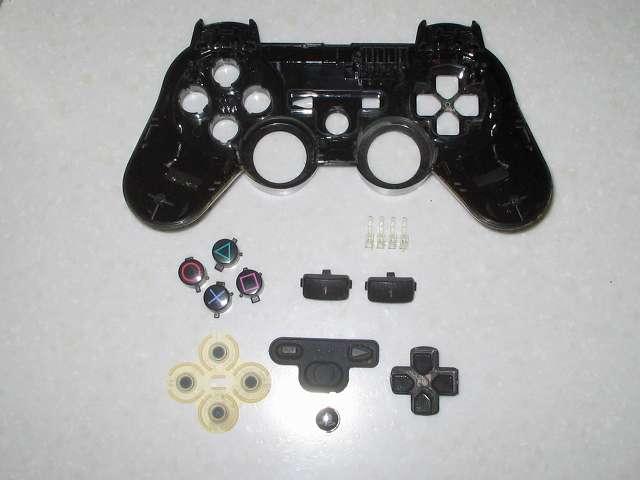 DS3 Dualshock3 デュアルショック3 Wireless Controller Black CECHZC2J A1 コントローラー本体上部プラスチックカバーの各種ボタンパーツとラバーパッドとポートランプを取り外した状態(撮影時十字キーのラバーパッドは入れ忘れたためなし)