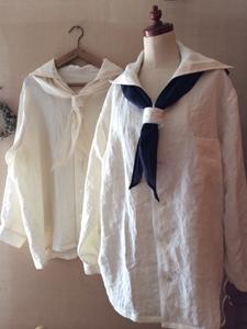 セーラーカラーシャツ白二点