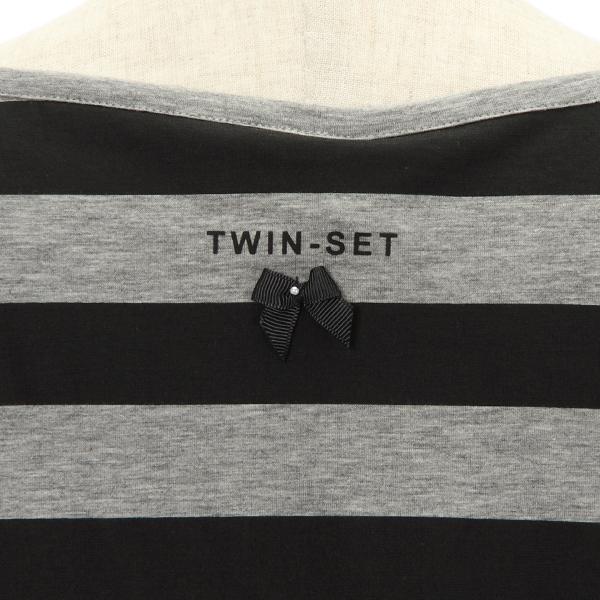 TWIN-SET・ツインセットの後ろボーダーのロゴ入りチュニックカットソー
