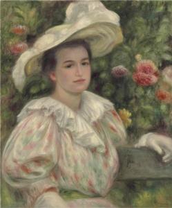 renoir Jeune fille dans les fleurs or Femme au chapeau blanc