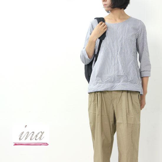 ina(イナ) 先染めブロードロンドンストライプ裾変形ブラウス