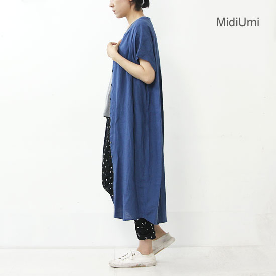 MidiUmi (ミディウミ) フロントフライロングシャツワンピース