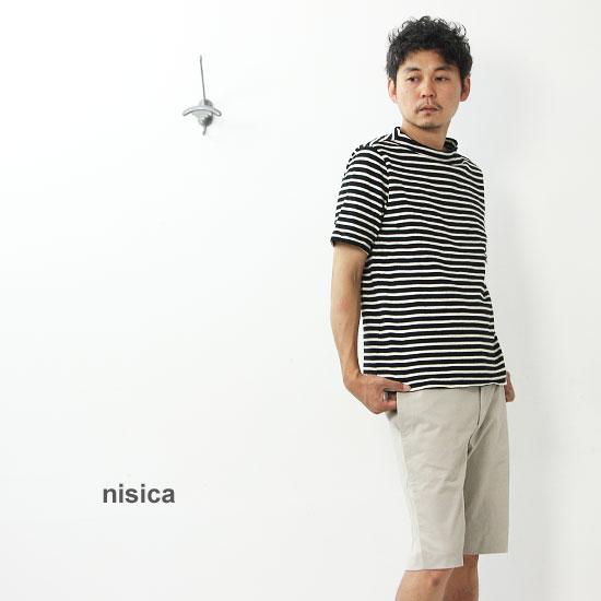nisica (ニシカ) 半袖細ボーダーガンジーネックカットソー