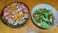 海鮮カルパッチョ 小松菜とソーセージの炒め物 20170514