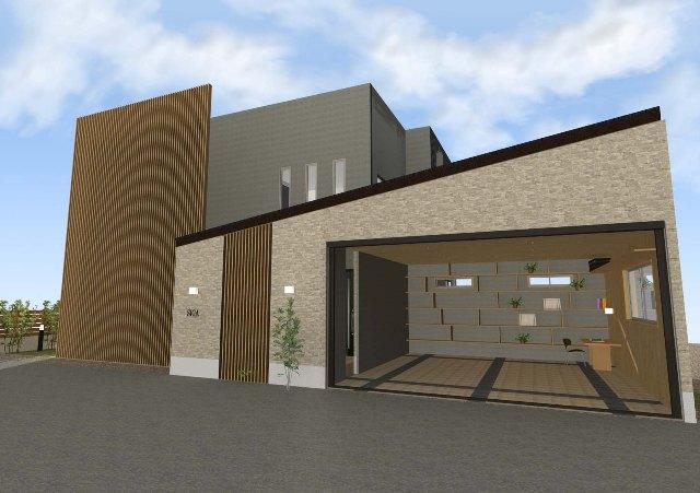 和モダンなガレージハウス、玄関アプローチは格子で!