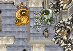 左側が自軍、右側が敵軍。上の数字が指揮官のHPで下の数字が傭兵のHP。