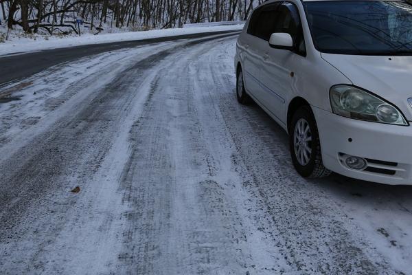 赤城山への道路はガリガリ