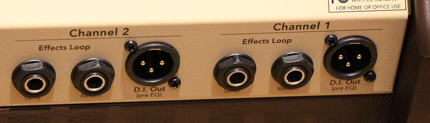 Channel2 D.I. Out:チャンネル2D.I.出力端子、 Channel1 Effects Loop Send/Return:チャンネル1エフェクトセンド&リターン端子、