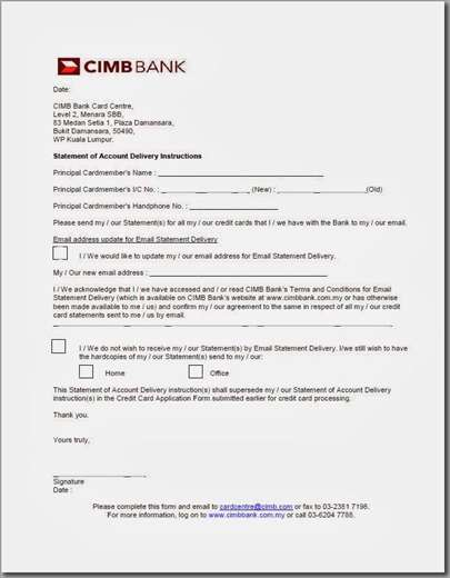 CIMB Statement of Account Delivery Instructions form
