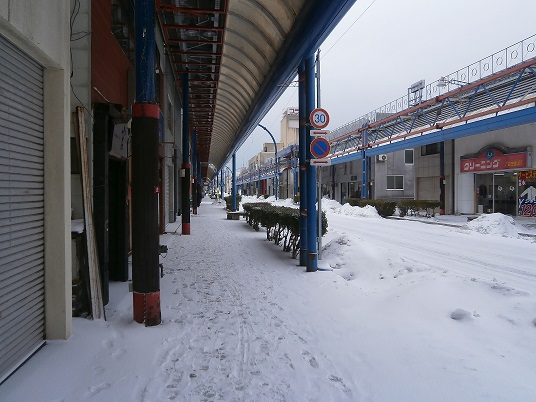 商店街の雪