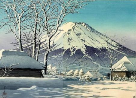 川瀬の富士の雪晴(忍野付近)