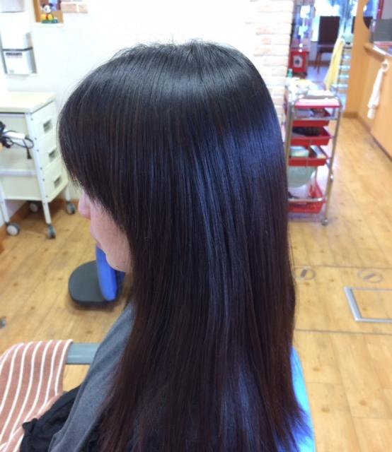 縮毛矯正 ロングヘア カラー毛