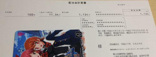 3387 クリエイト・レストランツHD 配当金