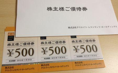 3387 クリエイト・レストランツHD 株主優待券