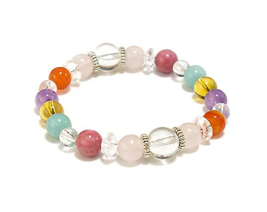 天然石ブレスレット 幸運 虹色レインボー天然石