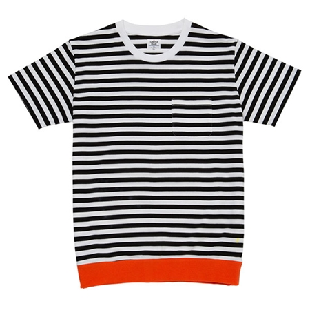 TP22 COLOR RIB BORDER TEE ORANGE_R
