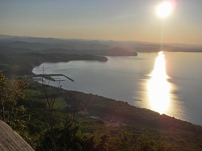 サロマ湖夕日前
