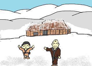 曲がり屋は雪の中