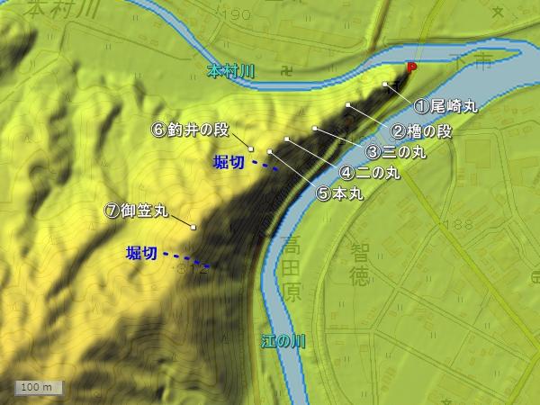 五龍城地形図