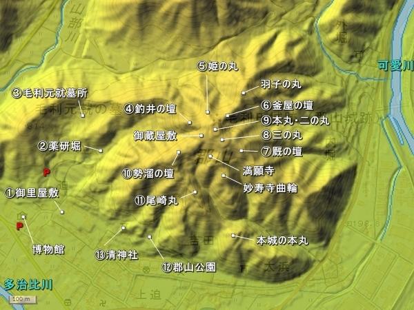 吉田郡山城地形図
