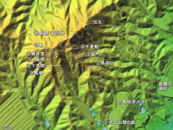 銀山城地形図