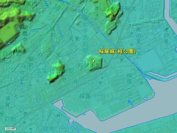 桜尾城地形図