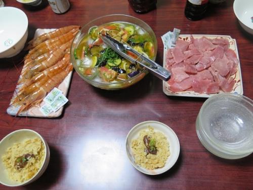 牡蠣飯、赤エビとマグロ刺身、夏野菜の揚げびたし