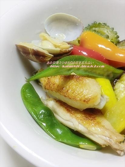 夏野菜のソテー鶏手羽中とあさりのアクアパッツァ風♪