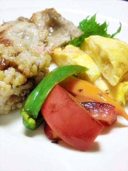 黒豚ロース生姜焼きと麩オムレツのワンプレートごはん♪