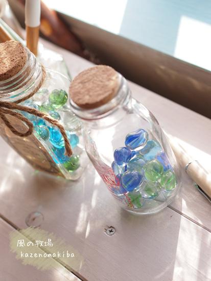 ビー玉とガラス瓶