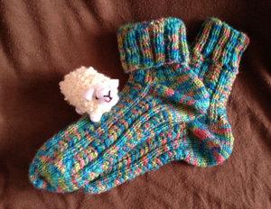 20150115 100均毛糸で靴下