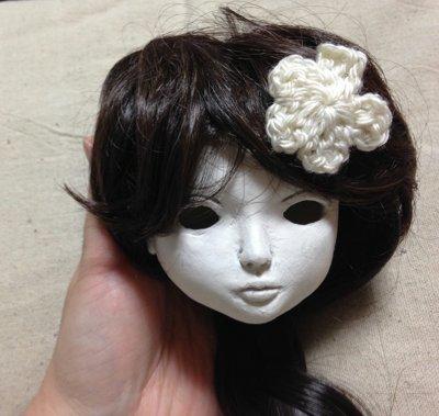 20150514 球体関節人形 自作ウィッグと花モチーフピン