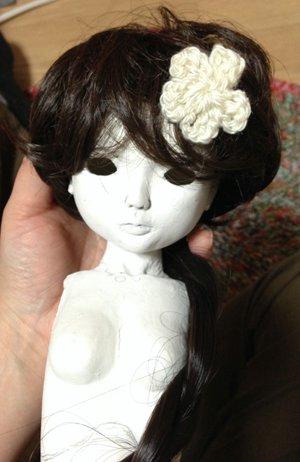 20150514 球体関節人形 自作ウィッグ 胴体と頭