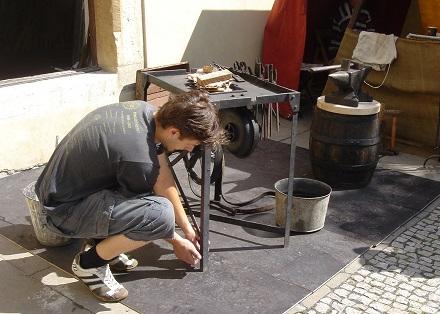 9チェコ、プラハの移動する鍛冶屋