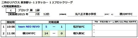 7.12(日)U-12後期L第1節結果表